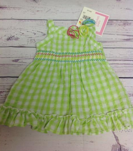 Youngland Green & White Dress