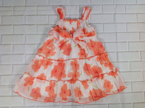 Youngland Orange Print Floral Dress