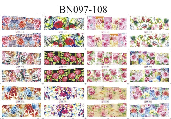 12 Designs Valentine Gift Nail Art Water Transfer Decals