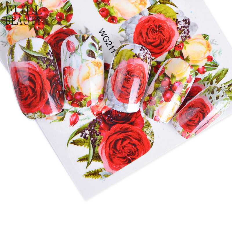 Colorful Flower Rose Valentine Water Full Wraps Nail Art Decals