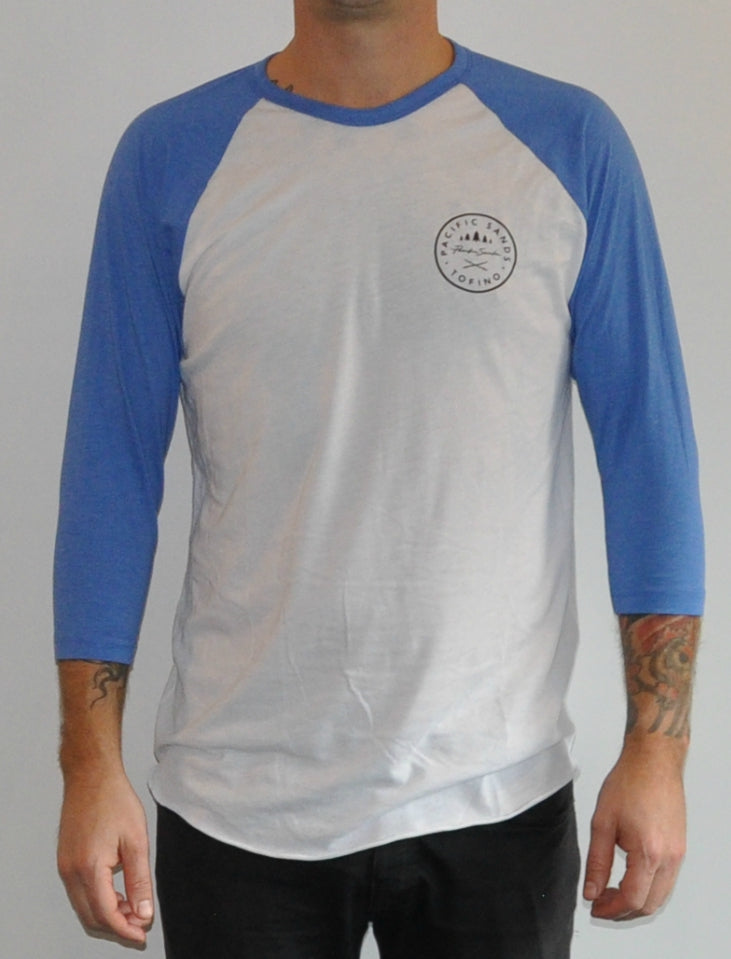 Unisex 'Pacific Sands Logo' Blue & White Baseball T-shirt