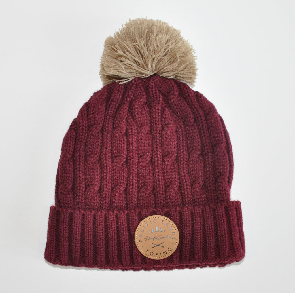 Pacific Sands Maroon Pompom Beanie / Toque