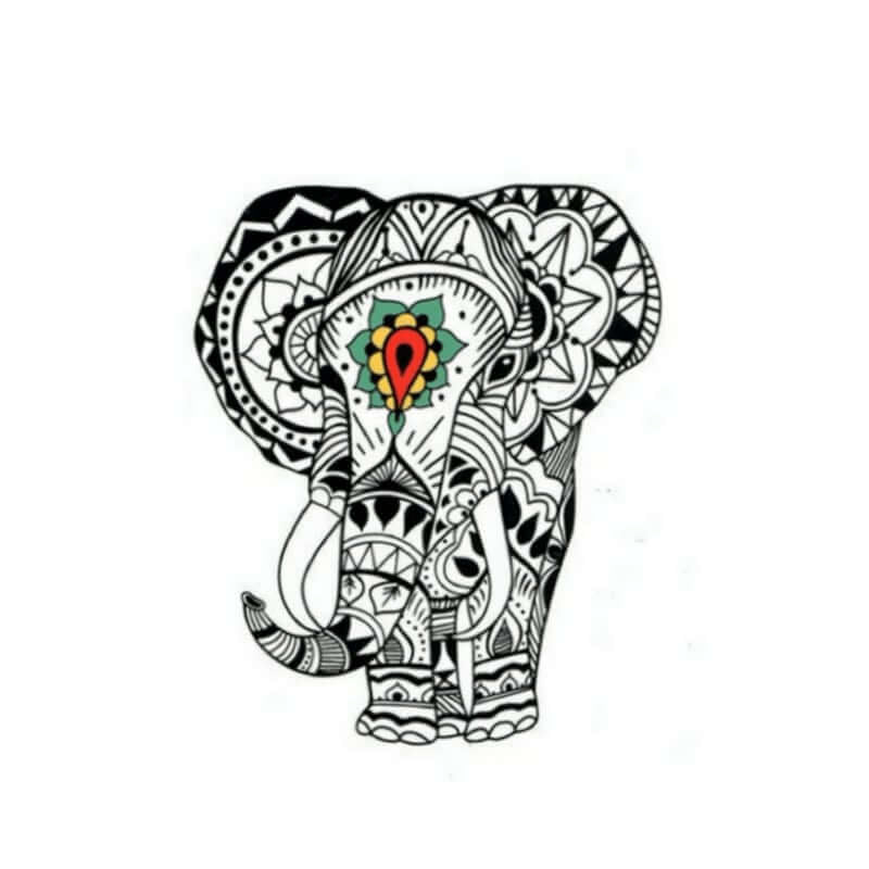 Elefant Mandala Temporäre Tattoos Temporary Tattoos Klebetattoos Faketattoos Tattlook