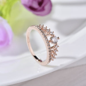 Mary Crystal Crown Ring - Rosetta Sterling