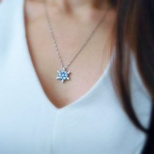 Blue Crystal Snowflake Necklace - Rosetta Sterling