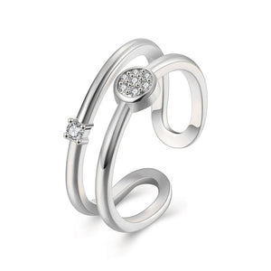 Crystal Double Rings - Rosetta Sterling