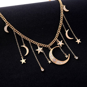 Delia Crescent Moon and Shooting Stars Necklace