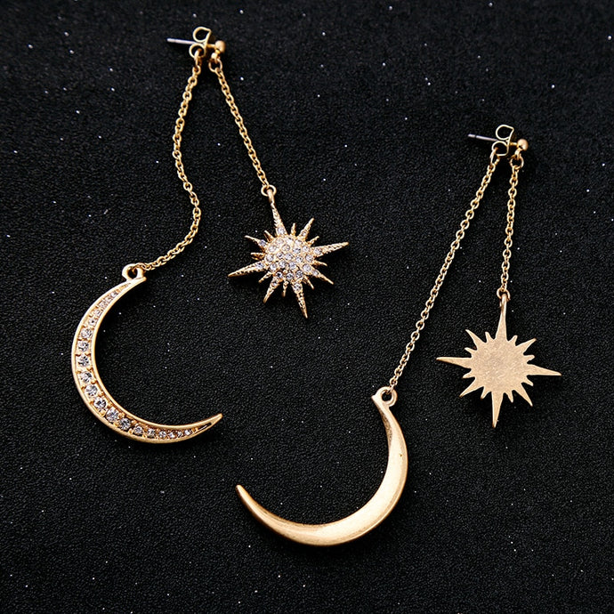 Artemis Star and Half Moon Earrings in Antique Gold