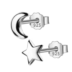 Pandora Star and Moon Cute 925 Sterling Silver Stud Earrings