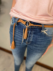 Braided Suede Tassel Belt