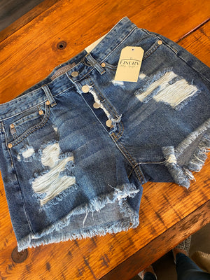 Button Down No-Stretch Denim Shorts