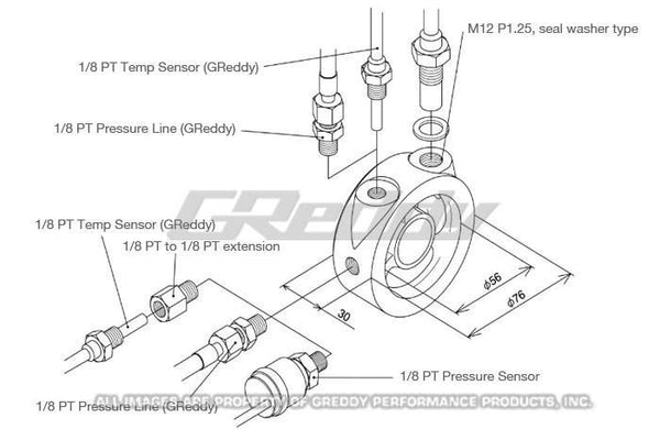GReddy Oil Filter Block Sensor Adapter - Universal