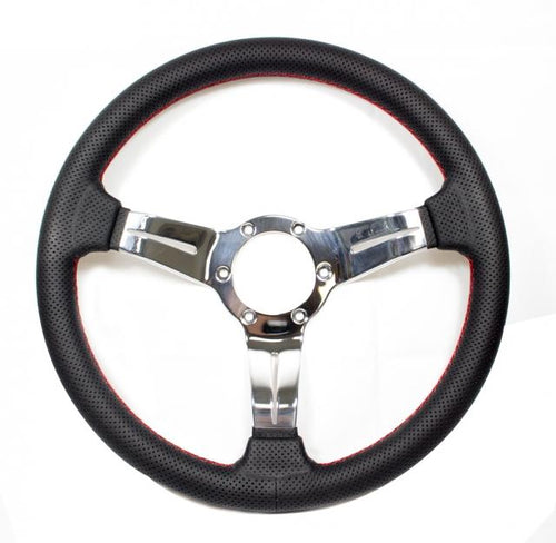 Nardi Deep Corn Sport Rally - 330mm (Black Perforated Leather / Polished Spokes)