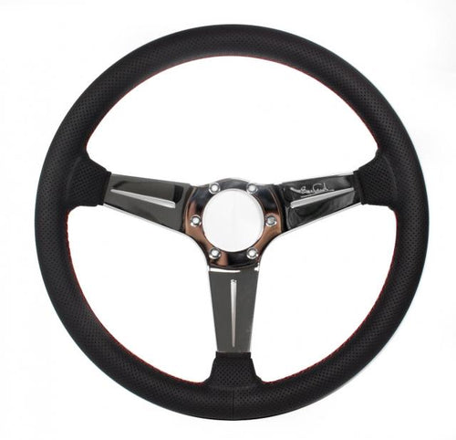 Nardi Deep Corn Sport Rally - 350mm (Black Perforated Leather / Polished Spokes)