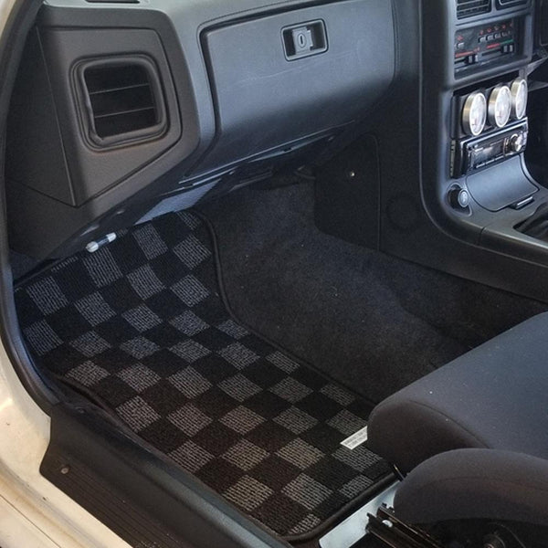 P2M Checkered Race Floor Mats 1986-1990 Mazda FC3S RX7