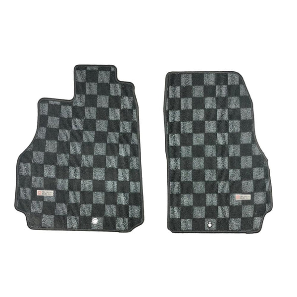 P2M Checkered Race Floor Mats - Fronts Only 2009-2021 Nissan R35 GTR