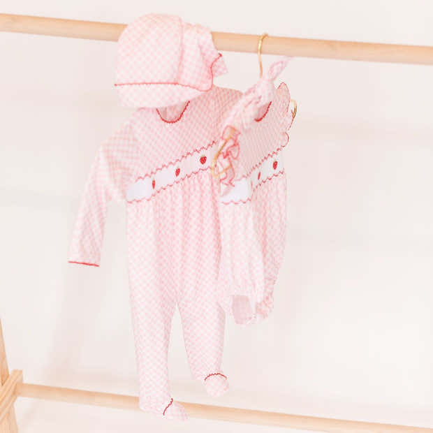 Pink Gingham Strawberry Smocked Footie 1