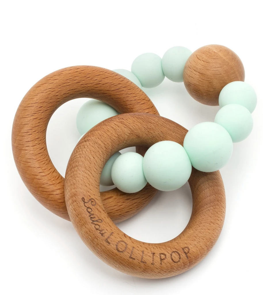 Bubble Silicone and Wood Teether- Mint