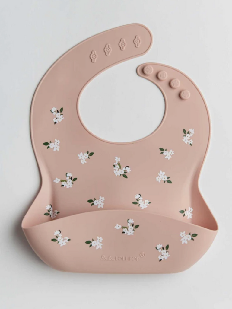 LouLou Lollipop Silicone Printed Bib -White flower