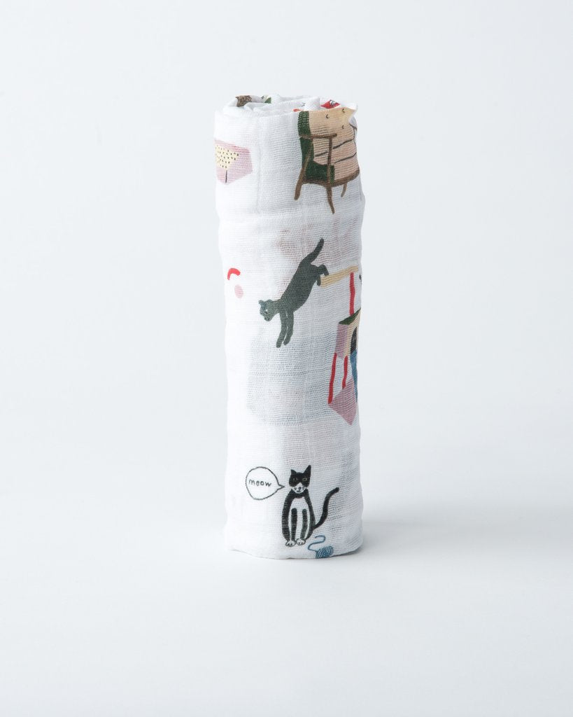 Cotton Muslin Swaddle- Meow