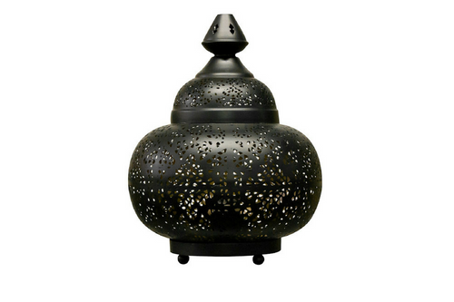 Indian Matki Lamp Black with Gold inside - casa-suarez-panama