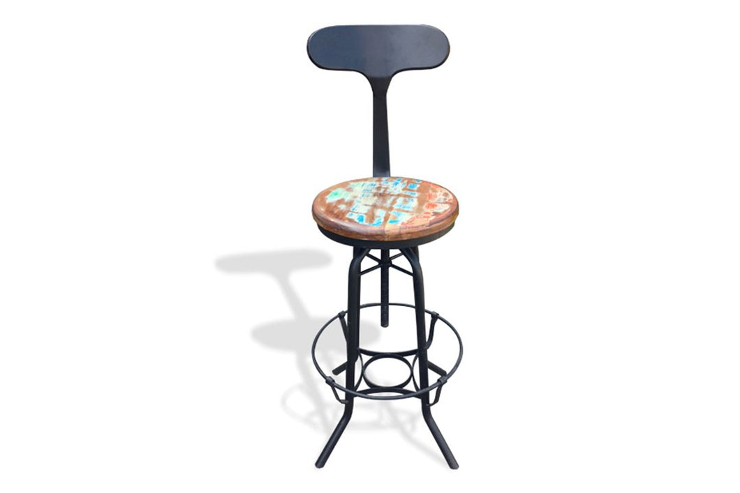 Industrial Bar stool with Back Support - casa-suarez-panama