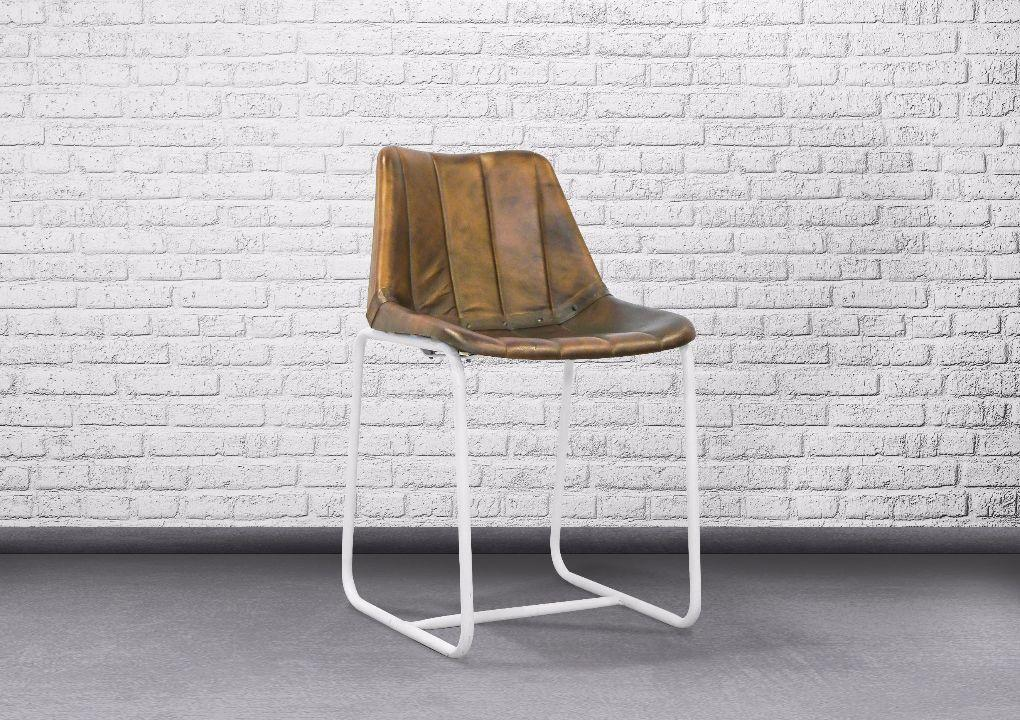 Indie Chair Leather Seat with White Legs - casa-suarez-panama