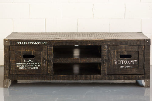 States Tv Unit with Recycled Wood and White Printing - casa-suarez-panama