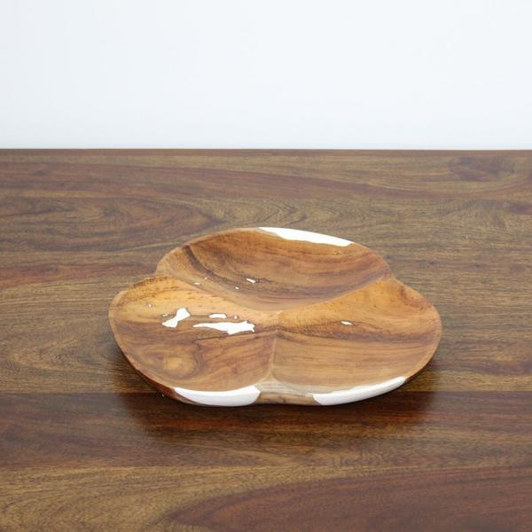 Plate 3 Hole Teak Wood and Resin White - casa-suarez-panama