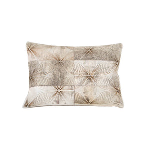 Boho Bloom Leather Pillow - casa-suarez-panama