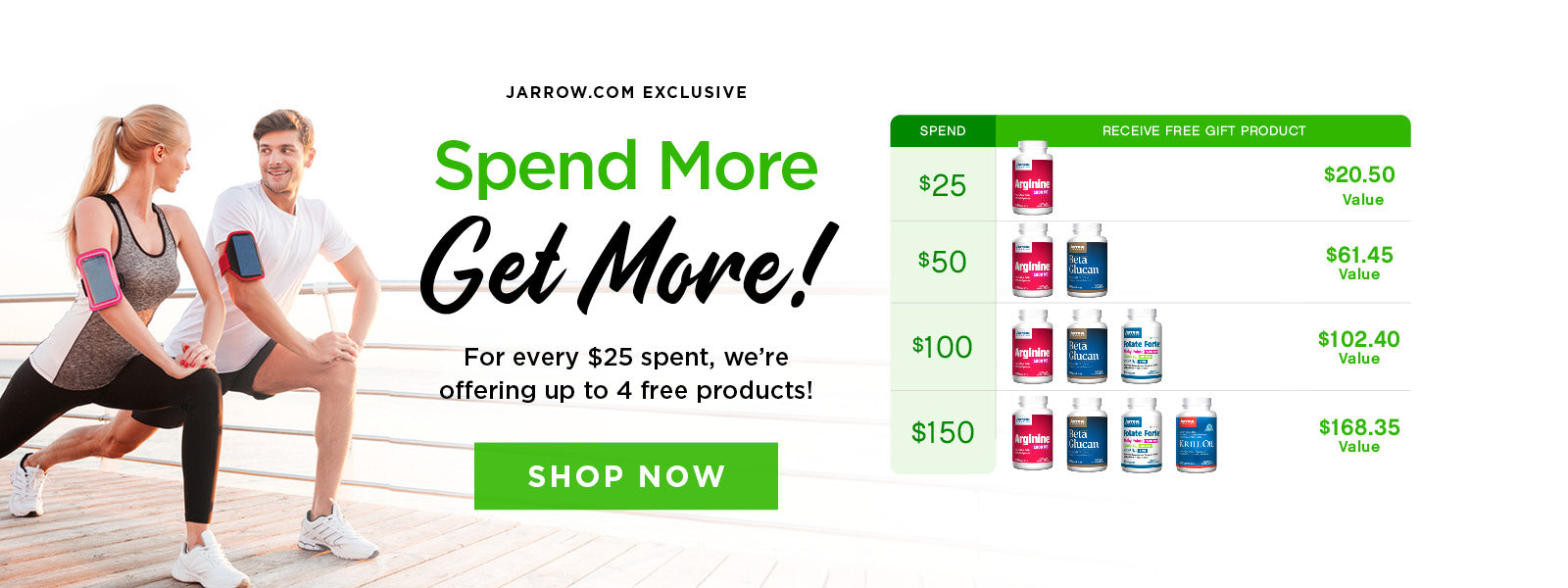 Spend More Get More! For every $25 you spend, we're offering up to 4 free products. Spend $150, and you'll receive the maximum gift offer of 4 free products.