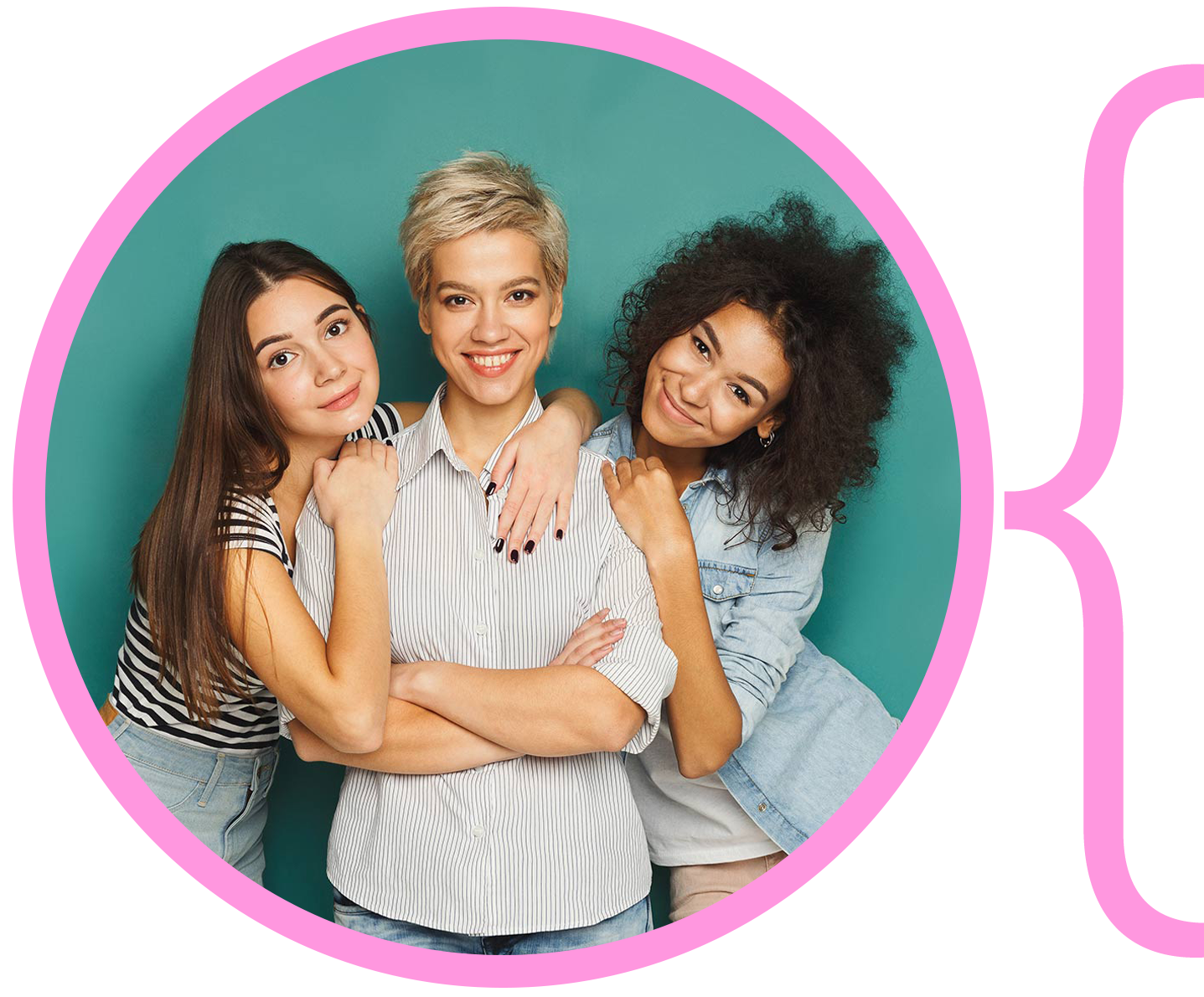 Image of three young women posing together in front of a blue background smiling