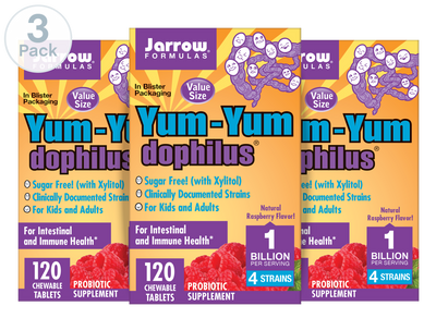 Yum-Yum Dophilus® Natural Raspberry      	         	           - Pack of 3: 360  Chewable Tablets Total