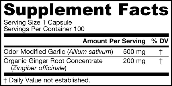 Garlic & Ginger Supplement Facts