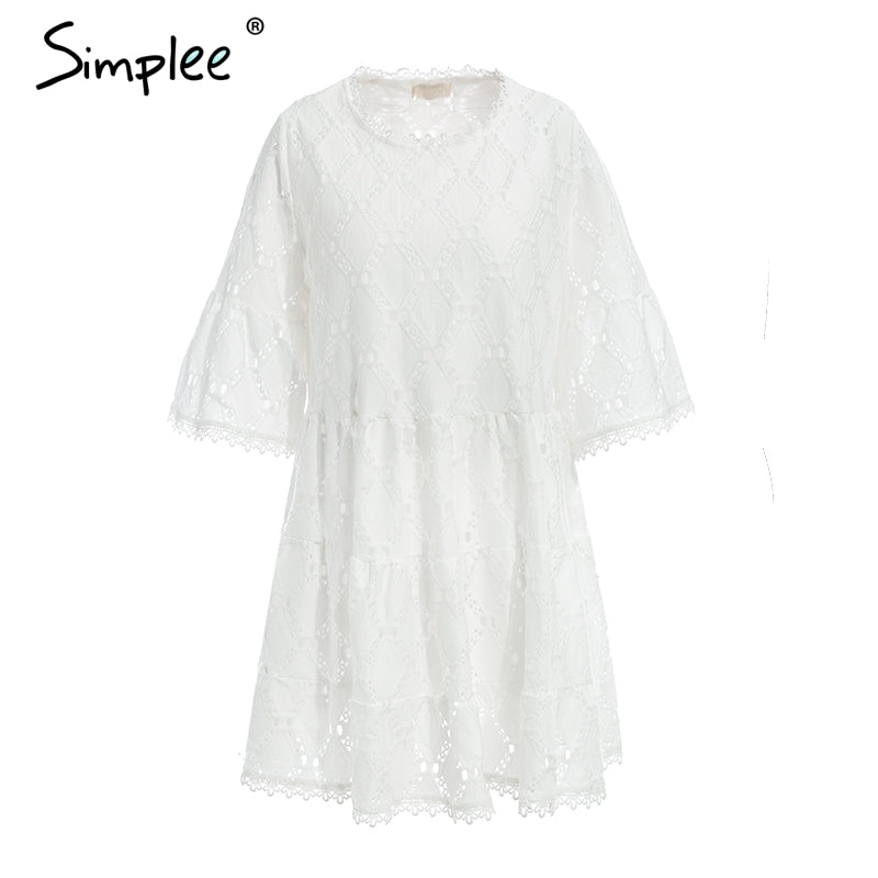 7b4b52df4bf Simplee Flare sleeve cotton white lace dress women Hollow out loose casual  dress 2018 Summer high