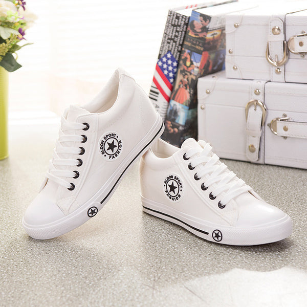715244f5b2ca Summer Sneakers Wedges Canvas Shoes Women Casual Shoes Female Cute White  Basket Stars Zapatos Mujer Trainers