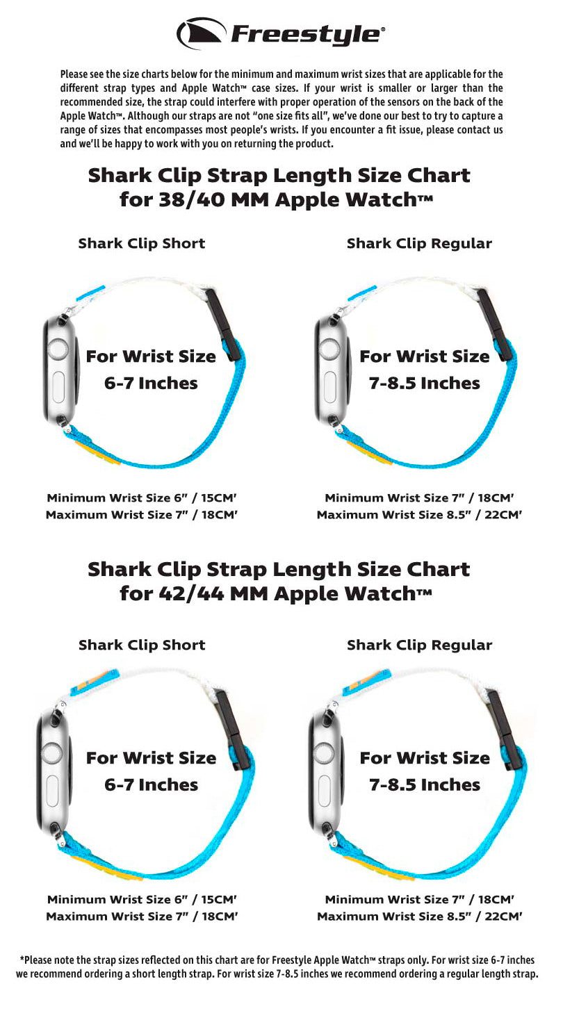 Freestyle Apple Strap Clip Size Chart
