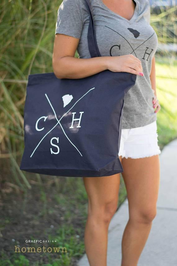 Zippered Navy Canvas Tote