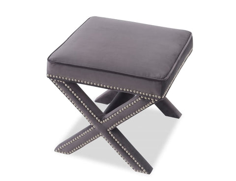 Alvar Velvet Stool - Fog Grey - Stool