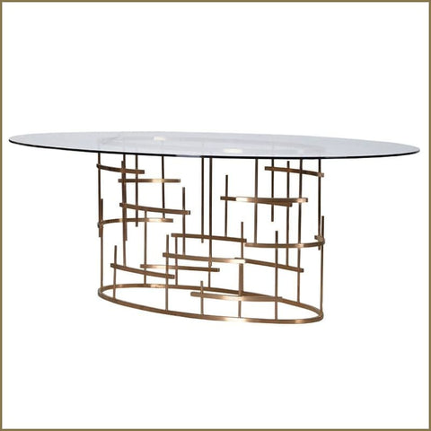 Diana Brass Oval Dining Table - Dining Table