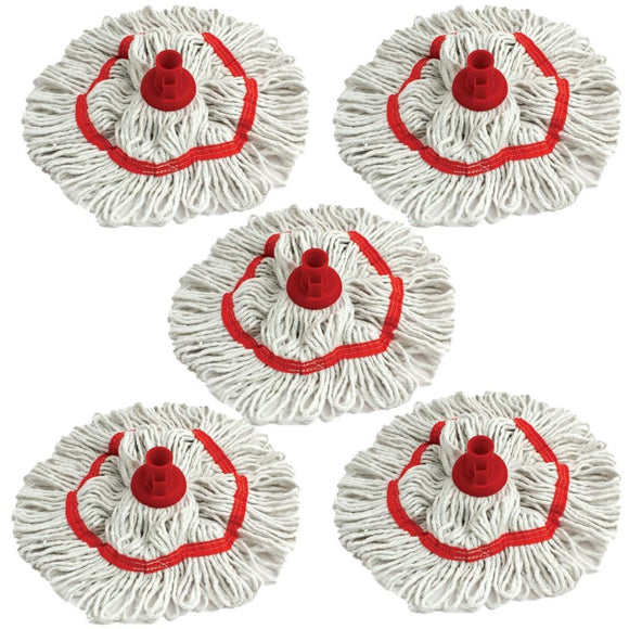 Red 350mm Looped Pure Yarn Cotton Mop with Loop Food Hygiene Colour Coded Pack of 5