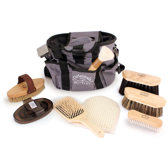 Bentley Deluxe Original Wooden 10Pc Horse Grooming Brushes Kit Set - The Dustpan and Brush Store