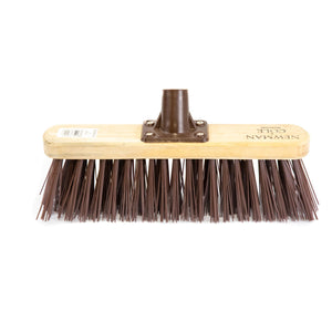"Newman and Cole 12"" Stiff Synthetic Broom Head with Plastic Bracket - The Dustpan and Brush Store"