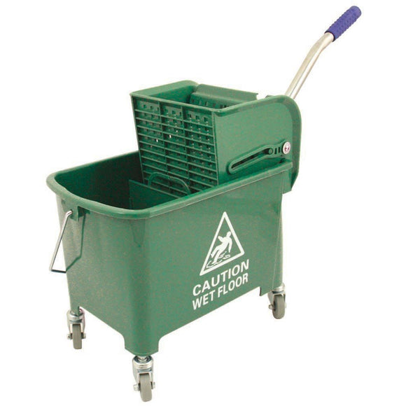 Green Heavy Duty Mobile 20L Kentucky Mop Bucket on Wheels with Wringer - The Dustpan and Brush Store