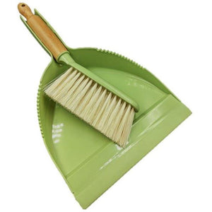Bamboo Dustpan and Brush Set Green