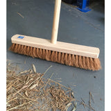 "18"" Soft Natural Coco Broom Head with Strong Wooden Brush Handle - The Dustpan and Brush Store"