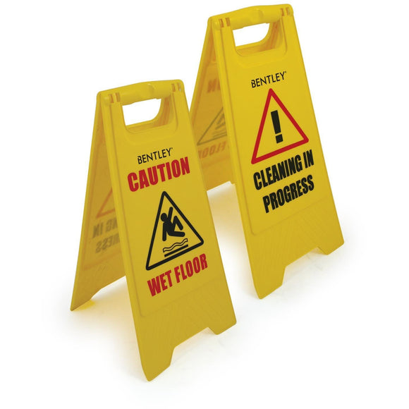 Professional Caution Wet Floor Sign Cleaning In Progress Yellow Warning Cone Sign - The Dustpan and Brush Store