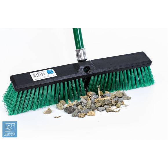Stiff Outdoor Yard Sweeping Brush Heavy Duty Garden Broom Sweeper Hard Firm Bristles with Strong Metal Handle 18