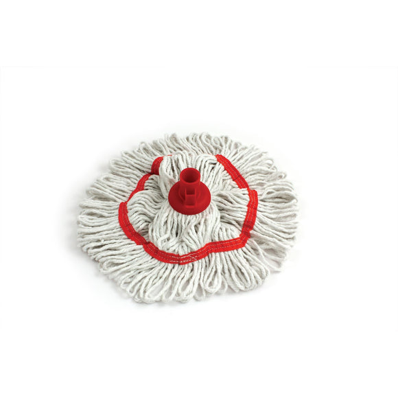 350mm Looped Pure Yarn Cotton Mop with Loop - Colour Coded - Red - The Dustpan and Brush Store