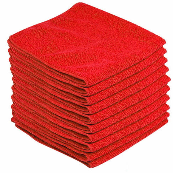Red Microfibre Large Cleaning Cloths 10 Pack Super Soft Multi Purpose Absorbent Cloths